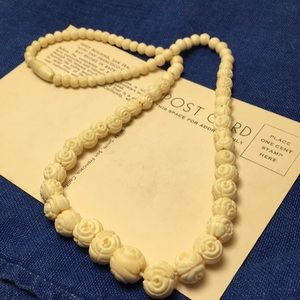Vintage Carved Bead Necklace